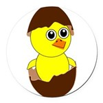 Newborn Chick with Chocolate Egg Round Car Magnet