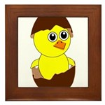 Newborn Chick with Chocolate Egg Framed Tile