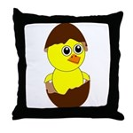 Newborn Chick with Chocolate Egg Throw Pillow