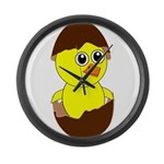 Newborn Chick with Chocolate Egg Large Wall Clock