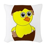 Newborn Chick with Chocolate Egg Woven Throw Pillo
