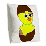 Newborn Chick with Chocolate Egg Burlap Throw Pill