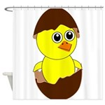 Newborn Chick with Chocolate Egg Shower Curtain