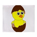 Newborn Chick with Chocolate Egg Throw Blanket