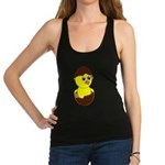 Newborn Chick with Chocolate Egg Racerback Tank To