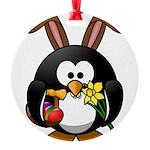 Easter Penguin Round Ornament