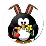 Easter Penguin Round Car Magnet