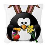Easter Penguin Woven Throw Pillow