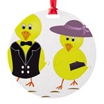 Easter Sunday Chick Round Ornament