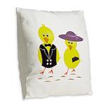 Easter Sunday Chick Burlap Throw Pillow