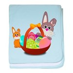 Easter Eggs with Rabbit Baby baby blanket
