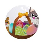 Easter Eggs with Rabbit Baby Ornament (Round)