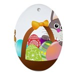 Easter Eggs with Rabbit Baby Ornament (Oval)