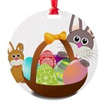 Easter Eggs with Rabbit Baby Round Ornament