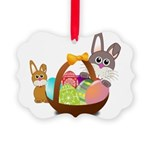 Easter Eggs with Rabbit Baby Picture Ornament