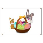 Easter Eggs with Rabbit Baby Banner