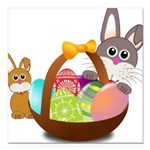 Easter Eggs with Rabbit Baby Square Car Magnet 3