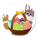 Easter Eggs with Rabbit Baby Round Car Magnet
