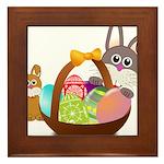 Easter Eggs with Rabbit Baby Framed Tile