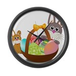 Easter Eggs with Rabbit Baby Large Wall Clock