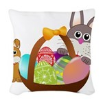 Easter Eggs with Rabbit Baby Woven Throw Pillow