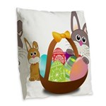 Easter Eggs with Rabbit Baby Burlap Throw Pillow