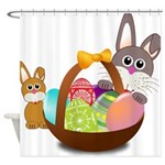 Easter Eggs with Rabbit Baby Shower Curtain