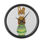 Easter Eggs with Rabbit Large Wall Clock