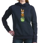 Easter Eggs with Rabbit Women's Hooded Sweatshirt