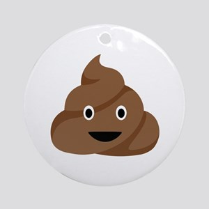 Poop Emoticon Ornament (Round)