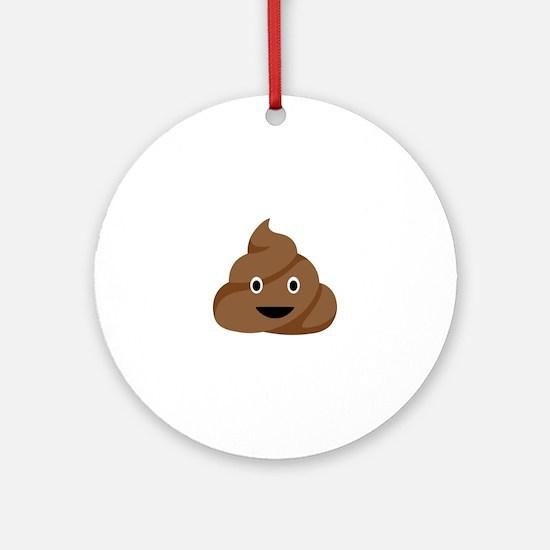 Poop Emoticon Ornament (Round)