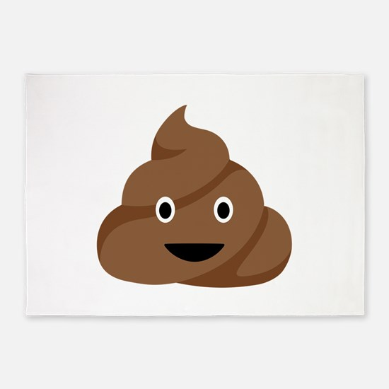 Poop Emoticon 5'x7'Area Rug
