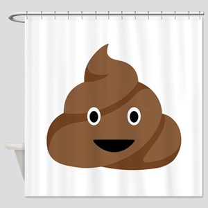 Poop Emoticon Shower Curtain