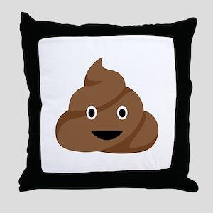 Poop Emoticon Throw Pillow