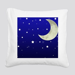 Moon and Stars Square Canvas Pillow