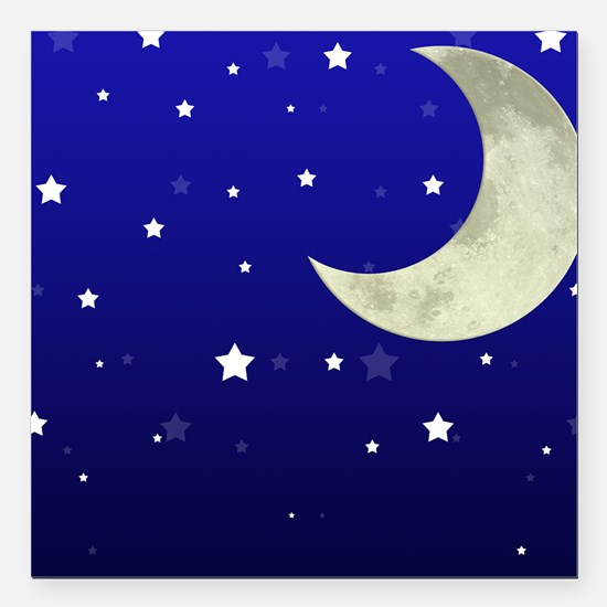 """Moon and Stars Square Car Magnet 3"""" x 3"""""""