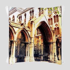 london abbey 2 Woven Throw Pillow