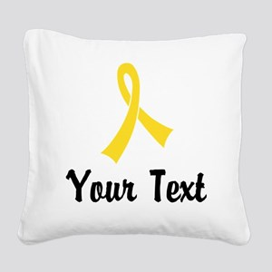 Personalized Yellow Ribbon Aw Square Canvas Pillow