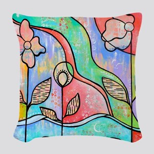 Daydream Believer Flowers Woven Throw Pillow