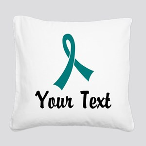 Personalized Teal Ribbon Awar Square Canvas Pillow
