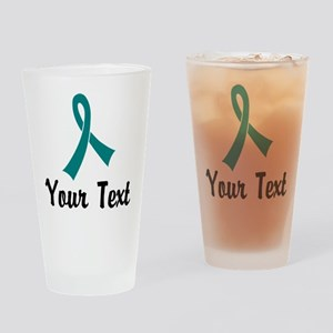 Personalized Teal Ribbon Awareness Drinking Glass