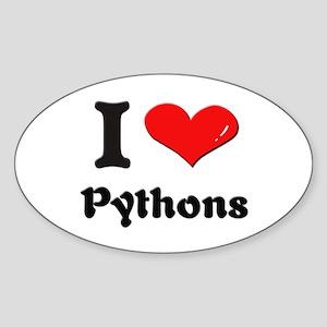 I love pythons Oval Sticker