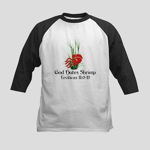 God Also Hates Shrimp Kids Baseball Jersey