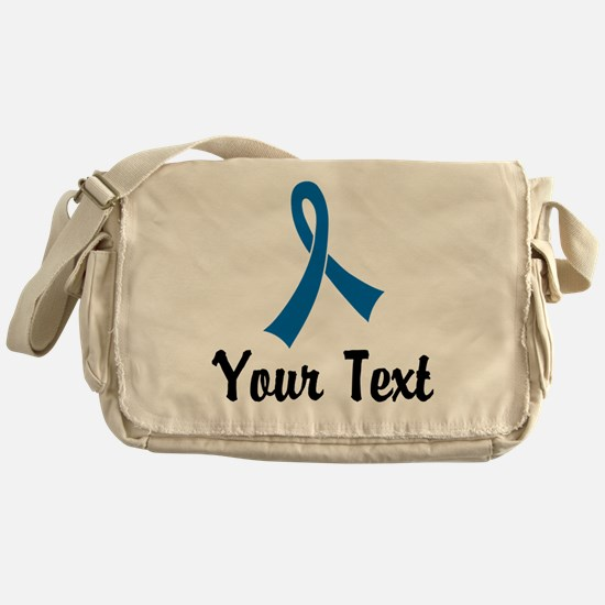 Personalized Blue Ribbon Awareness Messenger Bag