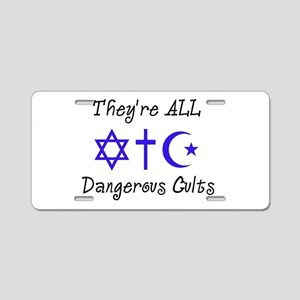 Dangerous Cults Aluminum License Plate