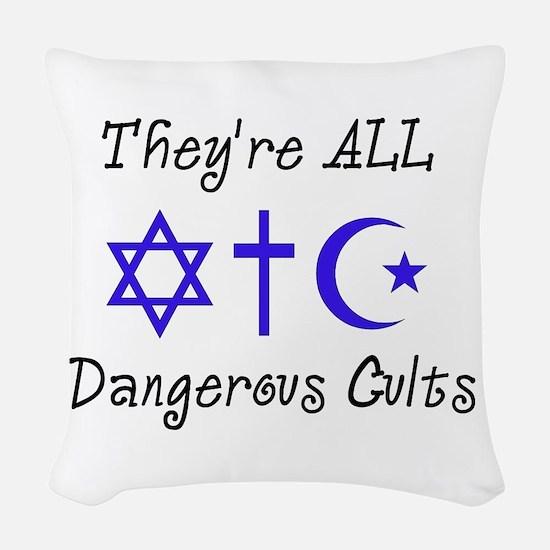 Dangerous Cults Woven Throw Pillow