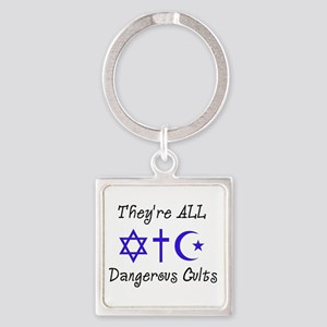 Dangerous Cults Square Keychain