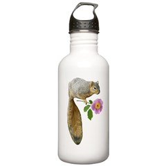 Squirrel with Flower Stainless Water Bottle Water Bottle