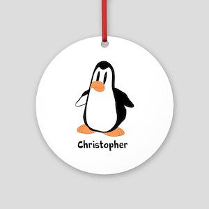 Personalized Penguin Design Ornament (Round)