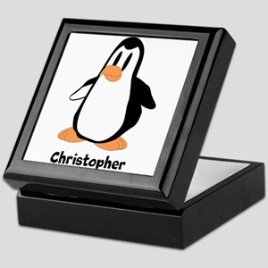 Personalized Penguin Design Keepsake Box